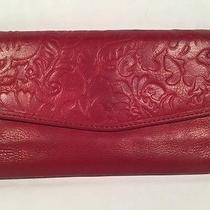 Fossil Red Leather Check Book Wallet Clutch  Photo