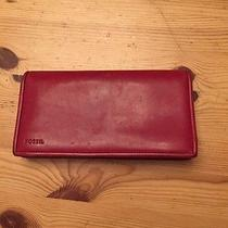Fossil Red Leather Checkbook Cover Photo