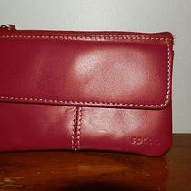 Fossil Red Leather Coin Bag Wristlet Purse Handbag Purse Bag  Photo