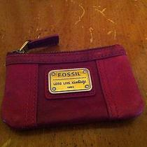 Fossil  Red Leather Coin Purse Lamb Hide Patchwork Key Ring Long Live Vintage  Photo