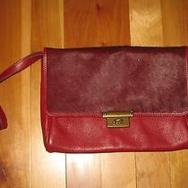 Fossil Red Leather Cowhide Clutch Purse Bag Handbag Wristlet Photo