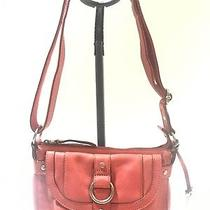 Fossil Red Leather Crossbody Shoulder Hand Bag Purse With Key Fob Preowned Photo