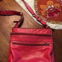 Fossil Red Leather Explorer Crossbody Messenger Bag Zipper Purse Large Photo