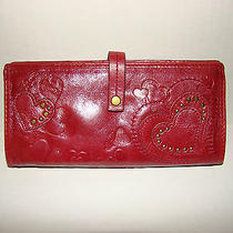 Fossil Red Leather Hearts Wallet Excellent Condition Photo