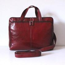 Fossil Red Leather Laptop Attache Briefcase Exec Tote Adj/removeable Strap Photo