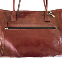Fossil Red Leather Laptop Case Large Purse Handbag W/ Silver Key Fob Photo