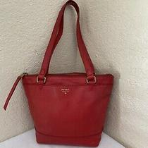 Fossil Red Leather Shopper Tote Shoulder Handbag Zb6700 Photo