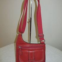 Fossil Red Leather Shoulder Bag Crossbody Purse Topstitched Excellent Unused  Photo