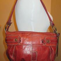 Fossil Red Leather Shoulder Bag Handbag Purse Satchel Photo