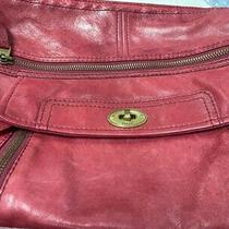 Fossil Red Leather Shoulder Bag Purse Multi Compartments and Adjustable Strap Photo