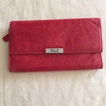 Fossil Red Leather Trifold Wallet Photo