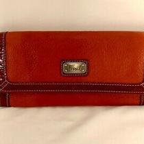 Fossil Red Leather Wallet Clutch Patent Leather Trim Women Msrp 88 Photo