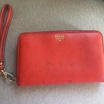 Fossil Red Leather Wristlet Wallet Clutch Ziparound Photo