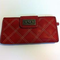 Fossil Red Quilted Leather Bi-Fold Clutch Wallet 7 X 3 1/2 Photo