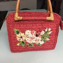 Fossil Red Straw With Bamboo Handle Flowered Handbag Photo
