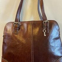 Fossil  Reddish Brown Leather   Tote Shoulder Bag Laptop Carry All Handbag Photo