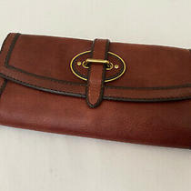 Fossil Reissue Vri Mahogany Leather Envelope Wallet Clutch Photo