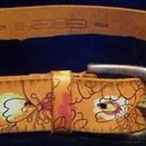 Fossil Retro Painted Leather Belt W/flowers-M Photo