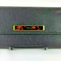 Fossil Rfid Blake Large Flap Leather Clutch Wallet Black Msrp 98.00 Photo