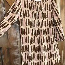 Fossil Riley -Large - 100% Silk Feather Print Pintuck Pleated  Shift Dress Photo