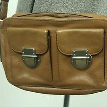 Fossil Riley Leather Crossbody Bag Purse Tan Zip Top Adjustable Strap Photo