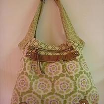 Fossil Roomy Canvas Floral Weekender Leather Trim Shoulder Tote Satchel Handbag Photo