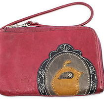 Fossil Ruby Leather Zip Lock Bird Portrait Wristlet Sl3095 Photo