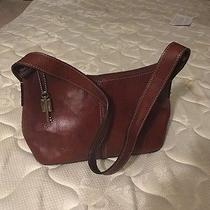 Fossil Running Stitch Hobo Mahogany Brown Leather Small Handbag Purse Bag Zb9092 Photo