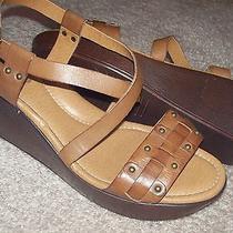 Fossil Saddle Brown Platform Sandal Heels Size 9m Nwob Photo