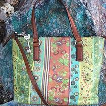 Fossil Satchel Botanical Design With Brown Leather Photo