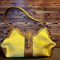Fossil Satchel Purse Yellow Pattern With Buckles Photo