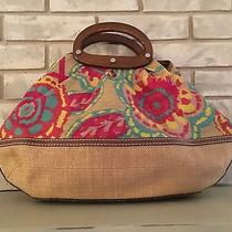 Fossil Satchel Tote Carryall Large Canvas Flower Print Wood Handles  Photo