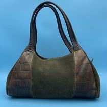 Fossil Satchel Tote Shoulder Bag Brown Suede Croc Handbag Purse Photo