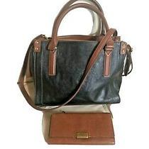 Fossil Satchel Wallet Black Brown Structured Leather Medium  Crossbody Bag Photo