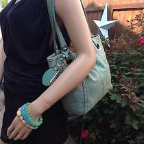 Fossil Sea Foam Green Turquoise Leather Top Magnetic Closure Shoulder Tote Bag Photo