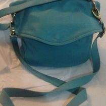 Fossil Sea Green/teal Modern Cargo Soft Leather Convertible Messenger Bag/purse Photo