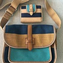 Fossil Shay Flap Blue Multicolor Canvas Handbag Purse - Matching Leather Wallet Photo