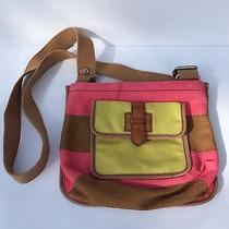 Fossil Shay Top Zip Crossbody in Pink Brown and Yellow Striped--Cute Photo