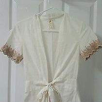 Fossil Shirt Top Wrap Ivory & Tan Crochet Cotton Blouse Size Xs Euc  Photo