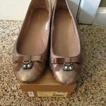 Fossil Shoe Sassy Charm Golden Leather Flats 6.5m Crystal Owl & Bow Nib 15452 Photo