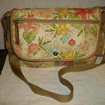 Fossil Shoulder Bag Computer Book Case Cotton Fabric Multi Color Purse Euc Photo