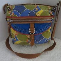 Fossil Shoulder Bag Leather Print Canvas Crossbody Computer Commuter School Bag  Photo