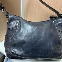 Fossil Shoulder Handbag Hobo Navy Blue  Leather Saddle Purse Photo