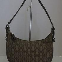 Fossil Shoulder Hobo Bag Brown Fossil Signature Fabric & Brown Leather Vtg Clean Photo