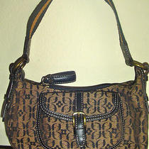 Fossil Signature Small Black Brown Fabric Handbag Hobo Shoulder Bag Purse Euc Photo