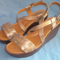 Fossil  Silver Gray Wedge Platform Strappy Sandals Women Sz 8 Photo