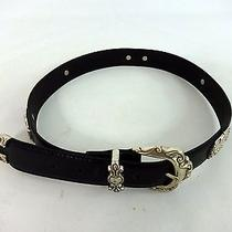 Fossil Silver & Leather Cowgirl Womens Western Style Belt Size 28