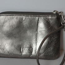 Fossil Silver Macy Leather Zip Around Wristlet Wallet Cute Photo