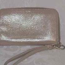 Fossil Silvery Gold Cowhide Leather Clutch/purse With Wrist Strap - Mint - Nwot Photo
