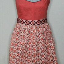 Fossil Size 6 Short Fit & Flare Scarlet Dress Spaghetti Straps Coral Orange  Photo